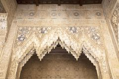 Lacework stucco in the Alhambra of Granada royalty free stock image