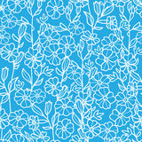 Lacey blue and white blossoms seamless pattern Royalty Free Stock Photos