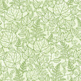 Lacey leaves lineart texture seamless pattern Royalty Free Stock Photography