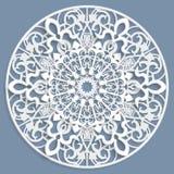 Lacez 3D le mandala, modèle à jour symétrique rond, napperon de dentelle, flocon de neige décoratif, ornement arabe, ornement ind Photo libre de droits