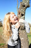 Lachen in der Herbstsonne Stockfotografie