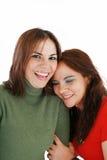 Lachen mit zwei Frauen Stockfotos
