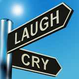 Lachen-oder Schrei-Richtungen auf einen Signpost lizenzfreie abbildung