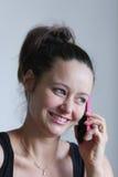Lachen am Telefon stockfoto
