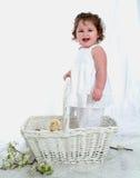 Lachend Baby en Kuiken? stock foto's