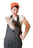 Lachend meisje met boor Stock Fotografie