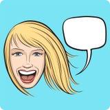 Lachend meisje met toespraakbel Royalty-vrije Stock Afbeelding