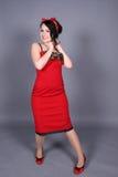 Lachend pinup meisje Royalty-vrije Stock Foto's