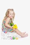 Lachend twee jaar oud meisjes in Eastertide Royalty-vrije Stock Afbeelding