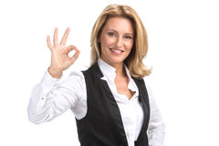 Lachende bedrijfsvrouw in wit overhemd Royalty-vrije Stock Foto's