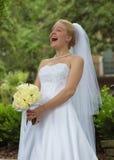 Lachende Bruid! Stock Foto