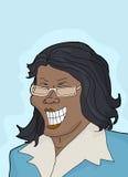 Lachende Frau im Blau lizenzfreie abbildung