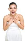 Lachende gelukkige Aziatische Chinese vrouw Stock Foto