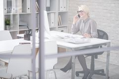 Lachende Geschäftsfrau Speaking telefonisch stockbilder