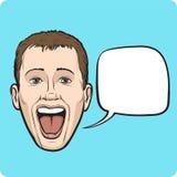 Lachende jonge mens met toespraakbel Royalty-vrije Stock Fotografie