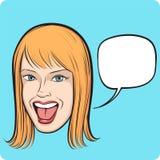 Lachende jonge vrouw met toespraakbel Stock Foto's