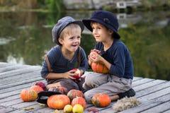 Lachende jongens die met pompoenen en appelen zitten Royalty-vrije Stock Afbeeldingen