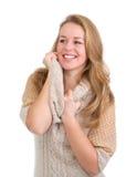 Lachende junge blonde Frau Stockbilder