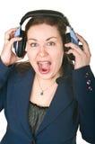 Lachende junge Frau des glücklichen Bedieners Lizenzfreie Stockbilder