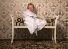 Lachende retro baby Royalty-vrije Stock Afbeelding