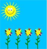 Lachende Sonne und lachende Blumen Stockfotografie