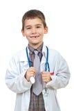 Lachende toekomstige arts met stethoscoop Stock Afbeeldingen