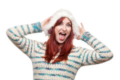Lachende vrouw in bont de winterhoed Royalty-vrije Stock Foto's