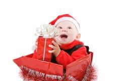 lachende Zuigeling in doos #1 Stock Afbeelding