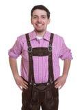 Lachender Besucher des bayerischen Oktoberfest Stockbilder