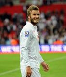 Lachender David Beckham mit Bart Stockbilder