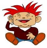 Lachender Junge auf Mobiltelefon Lizenzfreie Stockbilder