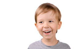 Lachender Junge 5 Jahre Stockfotografie