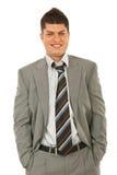 Lachender junger Geschäftsmann Stockbild