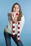 Lachendes Frauen-Zeigen lizenzfreies stockbild