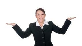 Lachendes Geschäftsfraugestikulieren Stockfotografie