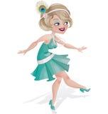 Lachendes nettes Karikaturprallplattenmädchen in Art Deco kleiden an Stockfotos