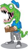 Lachendes T-Rex, das hölzerne Planke für Fahne hält Stockfoto