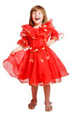 Lachendes tragendes Feiertagskleid des Mädchens Stockfotografie