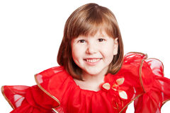 Lachendes tragendes Feiertagskleid des Mädchens Stockbild