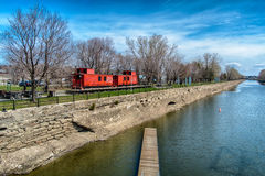 Lachine canal. National Historic Site. The gateway to a network of canals linking the Atlantic Ocean to the heart of the continent, the  paved the way for the royalty free stock images