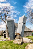Lachine museum sculpture. On the banks of the St. Lawrence River, 10 km from downtown Montréal, history and contemporary art are closely intertwined. The Mus stock image