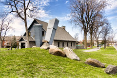 Lachine museum sculpture. On the banks of the St. Lawrence River, 10 km from downtown Montréal, history and contemporary art are closely intertwined. The Mus stock photography