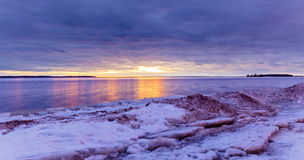 Lachine Quebec Winter. Lachine Lakeshore, January 2016. Sun setting in the horizon giving a false impression of a distant furnace that is warming the land royalty free stock photo