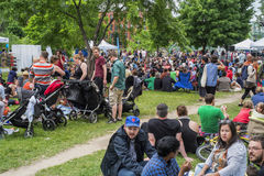Lachine waterfront party. Lachine Canal National Historic Site with peoples making a fiesta in the park royalty free stock photography