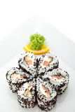 Lachs- und geräucherte Aal Maki Sushi Lizenzfreies Stockfoto