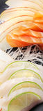 Lachs-und Weißfisch-Sashimi-Sushi Stockfotografie