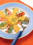 Lachs- und Zitrusfruchtaperitif Stockbild
