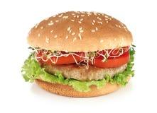 Lachsburger mit Kopfsalat und Weinstein Lizenzfreie Stockbilder