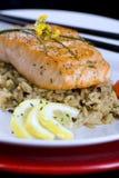 Lachse mit wildem Reis Stockfotografie