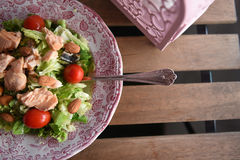 Lachse und Salat Stockfotos